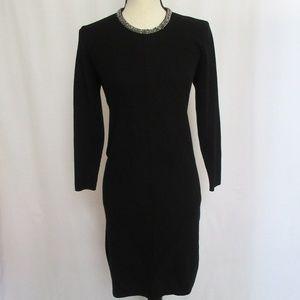 Zara Knit Black Dress Silver Beaded Collar Size M